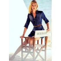 Camisa Vestido Jeans Feminina Moda - Cinto+calcinha D Brinde
