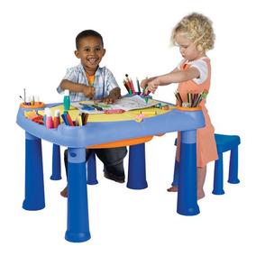 Mesa De Juego Para Niños C/2 Banquetas-creative Play Table