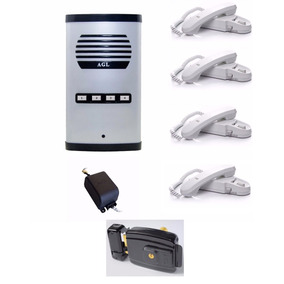 Kit Interfone Coletivo 4 Pontos + Fechadura Al100 Agl Grande