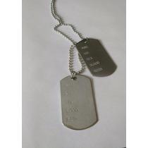 Colar Militar Exército Corrente Com Placa 2 Dog Tag Aço Inox