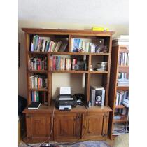 Hermoso Librero De Madero Con Escritorio Negro De Regalo