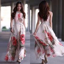 Tsuki Moda Asiatica: Vestido Largo Chifon Fiesta Casual Sexy