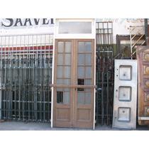 Puerta Dos Hojas Cedro Vidrios Repartidos Demolicion