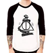 Camiseta Blusa Raglan 3/4 Harry Potter Relíquias Da Morte 02