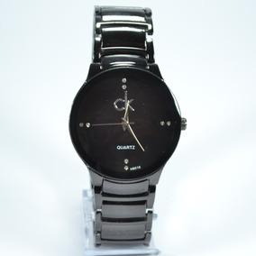 Relógio Feminino Pulso Strass Quartz Ck Luxo Grafite Lindo