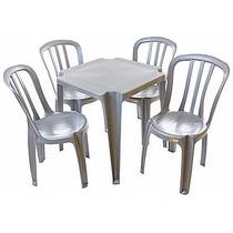 Conjunto De 10 Mesas Com 40 Cadeiras Cinza Inox Plástic-emp.