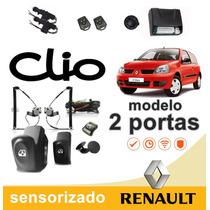 Kit Vidro Elétrico Sensorizado Clio 2 Portas Alarme E Travas