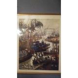 Hermoso Cuadro-ploteo De Benito Quinquela Martin Enmarcado