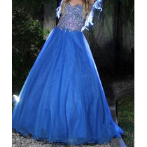 Vestido De Fiesta 15 Años, Largo, Color Azul