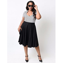 Vestido Vintage Pin Up Rockabilly Tallas Extra Negro/blanco