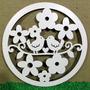 Mandala Passarinho Flor Branco 58cm - Recorte Em Mdf