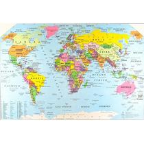 Mapa Planisferio N° 6 Político Color 35 Cm X 50 Cm