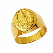 Anel Nossa Senhora Das Graças Ouro 18k Teor 750 Amarelo