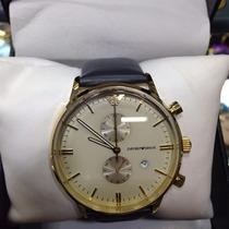 Relógio Armani Dourado Pulseira Couro Sedex Grátis