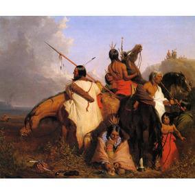 Grupo De Índios Sioux Cavalos Caça Pintor Deas Tela Repro 75e808a68b0a2