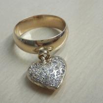 Anel / Aliança Ouro 18k, Com Pingente De Corações Cravejado