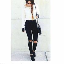 Jeans De Dama Negro Corte Alto