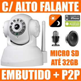 Camera Ip Wireless Infra P2p Alto Falante Embutido Micro Sd