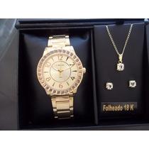 Kit Relógio Lince Dourado + Conjunto Folheado A Ouro