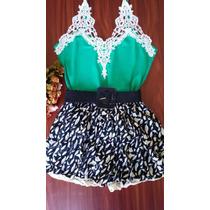 Conjunto Cropped Blusa Renda Varias Cores+short+cinto