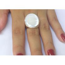 Anel Feminino Prata 950 Maciça Madrepérola Branca Ou Rosa