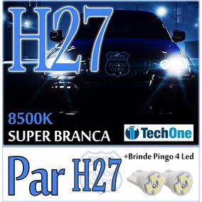 Par Lâmpada H27 Super Branca Tipo Xenon 8500k + Pingo Led