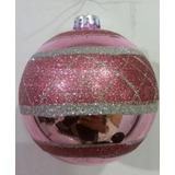 Bola Enfeite De Natal - 12 Cm - Mosaico Rosa/ Prata