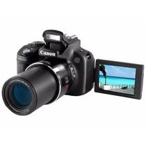 Câmera Canon Sx50 Preta Com Lcd 2,8,12.1mp, Zoom Óptico 50x