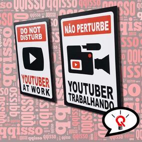 Placas Decorativas Youtuber Youtubers Youtube - Frete Grátis