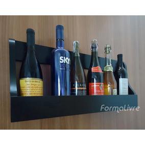 Prateleira Adega Suporte Decorativo Vinhos E Bebidas - Preto