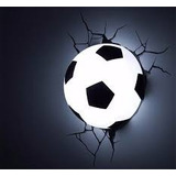 Abajur Luminária Infantil Bola De Futebol Branca Led 3d