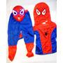 Combo Disfraz Hombre Araña + Mascara Con Luz Led Spiderman