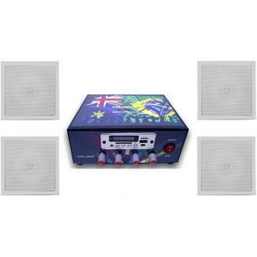 Kit Som Casa Varanda Loja Amplificador Usb + 4 Arandelas Bsa
