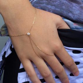 (p-10) Pulseira De Mão Em Ouro 18k 750 Com Ponto De Luz!!!