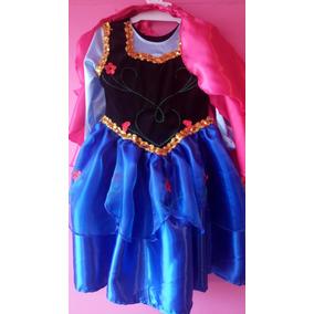 Vestido Disfraz Anna Elsa Frozen Bordada La Mas Linda!!!