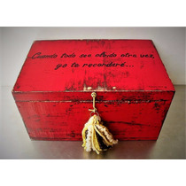 Baúl Cofre Caja Vintage Madera C/borla Decorativa Serigrafia