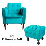 Kit Poltrona Lavinia + Puf Puff Luis Xv Suede Azul Tifanny