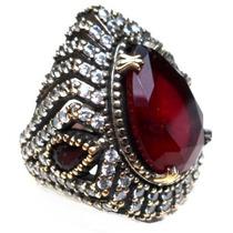 Pfy-anel Turquia Turco Prata 925 Cristal Tom Rubi Zirconias