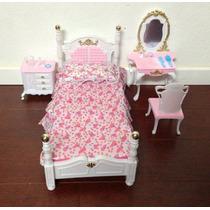 Casa De Muñecas Barbie Muebles - Cama Habitaciones & Bellez