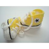 Sapatinho Tenis All Star Bebê Em Crochê Frete 15 Todo Brasil