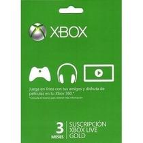 Membresia 3 Meses Xbox Live Gold / Entrega 15 Mint!