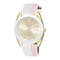 Relógio Feminino Mormai Mauí Mo2039ag/8k - Dourado E Branco