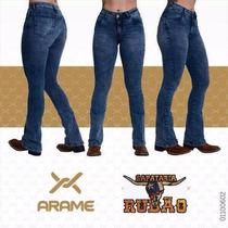 Calça Jeans Country Feminina Arame Cos Alto