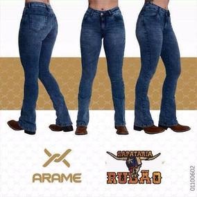 Calça Jeans Country Feminina Arame Cos Alto Azul Mescla.