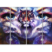 Tiger, Eagles And Woman Eyes Collage , Animal Canvas Print,