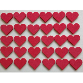 Aplique Coração Grande Em Eva Kit Com 30 Unidades 2,5 Cm