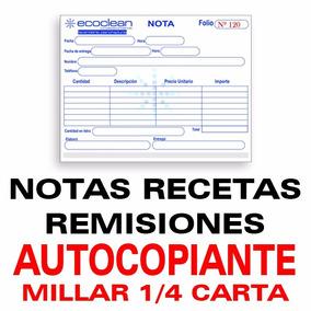 Notas Recetas Remisiones Papel Autocopiante Original Copia
