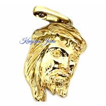 Pingente Face De Jesus Em Aço Inox 316l Folheado Ouro 18k