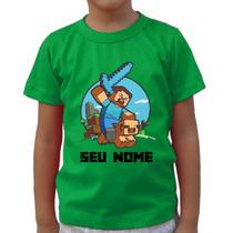 Camisa, Camiseta Infantil, Juvenil Minecraft Com Seu Nome