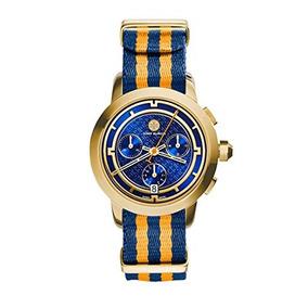 Tory Burch Tory Del Reloj, De La Raya / Dorado / Azul Marin